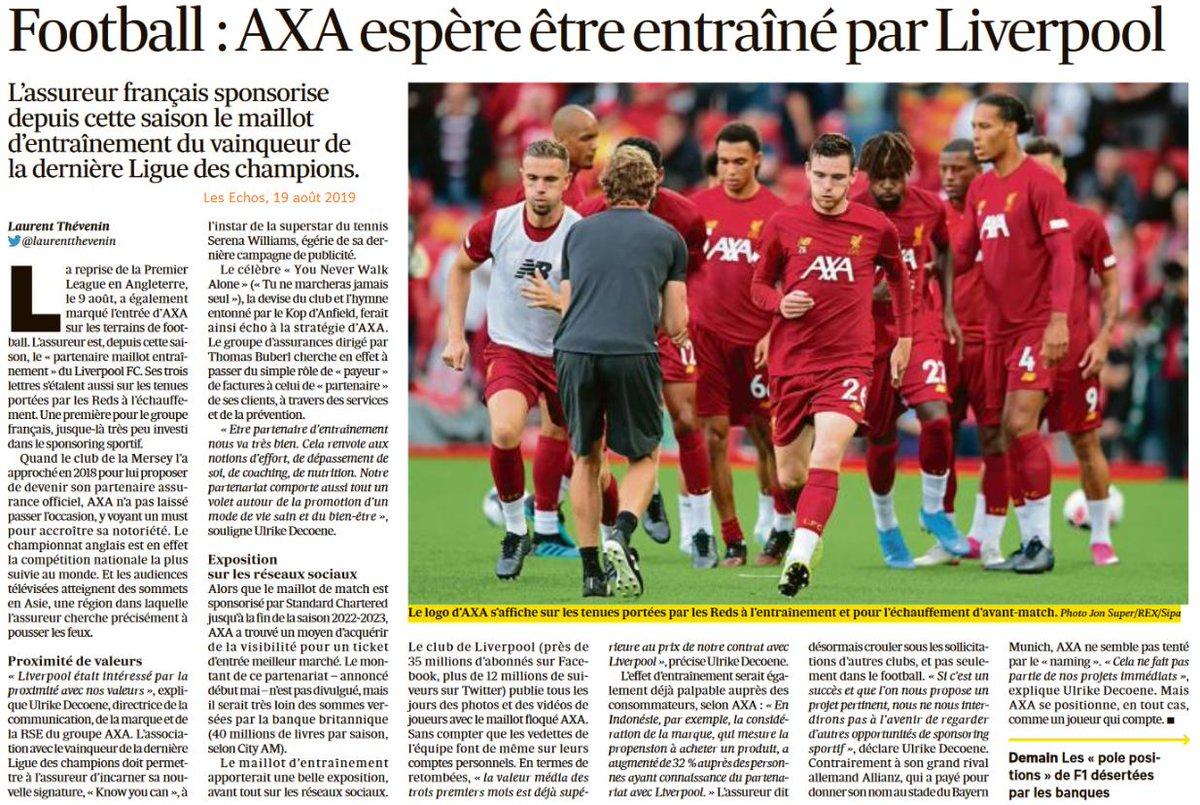 📌@AXA devient partenaire maillot Entraînement de #Liverpool. 📌Objectif 1 : augmenter sa notoriété en Asie en profitant des millions de followers du club dans cette région du monde. 📌Objectif 2 : associer la marque aux valeurs sportives pour promouvoir un mode de vie sain.