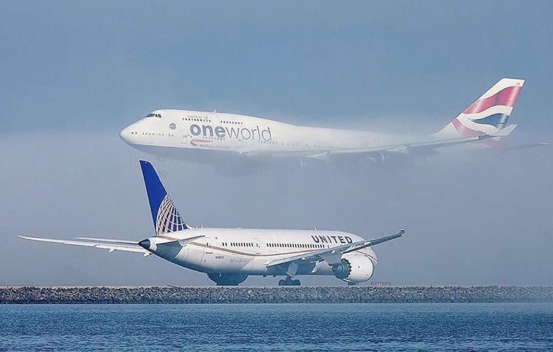 """It's like a scene from The Lion King... """"One day 787 you will be Queen of the Skies..."""" """"747 Don't go!"""" (Photo courtesy of @BoeingAirplanes )"""