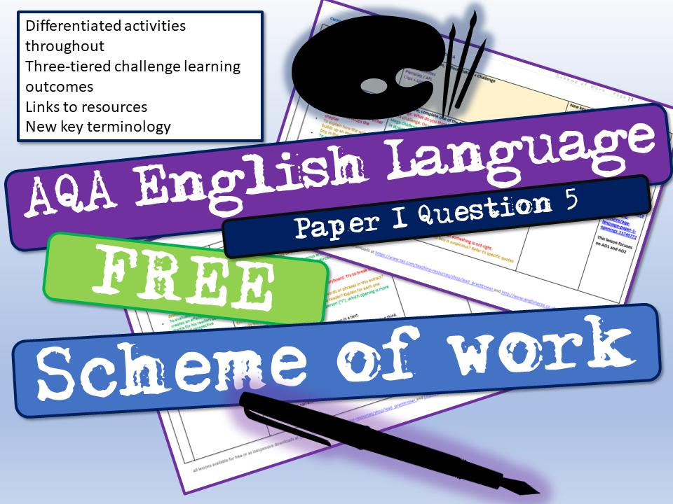 NEW and FREE AQA English Language Paper 1 Question 5 full scheme of work which covers both narrative writing and descriptive writing:  https://www. tes.com/teaching-resou rce/aqa-english-language-paper-1-question-5-scheme-of-work-12169113  …  #teamenglish @Team_English1 #engchat #ukedchat #gcses #gcse #gcses2020 #backtoschool #gcseresultsday2019 #gcseresultsday<br>http://pic.twitter.com/QIkh5YglVj