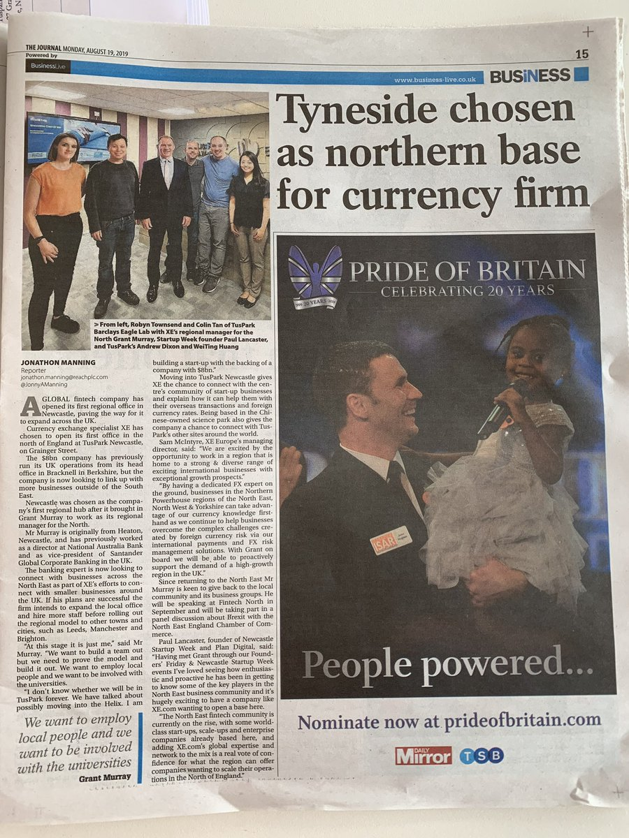 Fantastic full page article about $8bn global FinTech giant @XE opening a new base in Newcastle & their growth ambitions in @TheJournalNews / @jnlbusiness todau)! ⬇️✨🚀 (Read it online too at business-live.co.uk/enterprise/fin…)