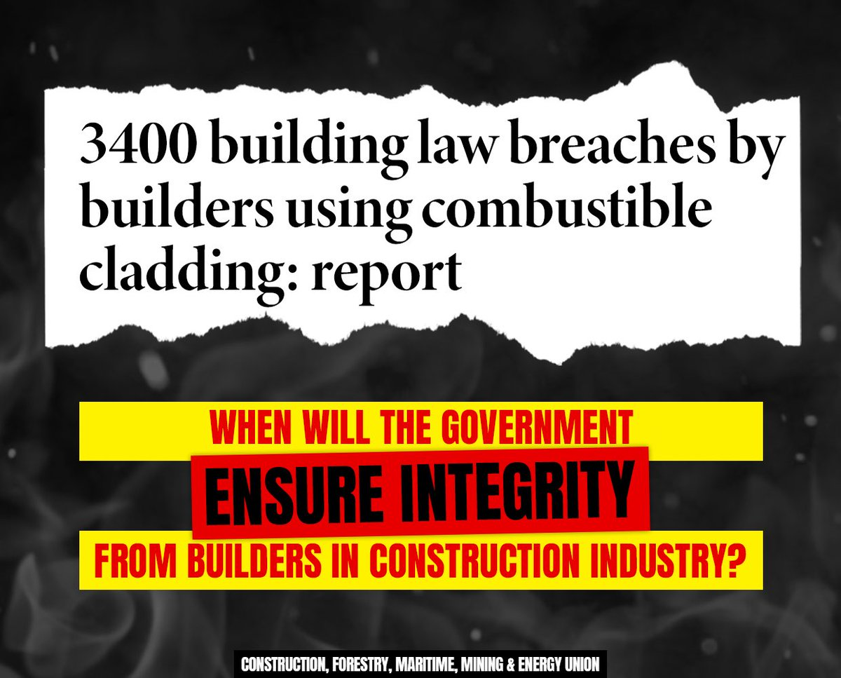 There are thousands of buildings with combustible cladding and structural defects because the government prefers to crack down on unions rather than enforce the construction code. #4Corners <br>http://pic.twitter.com/gEK5QlaWw2