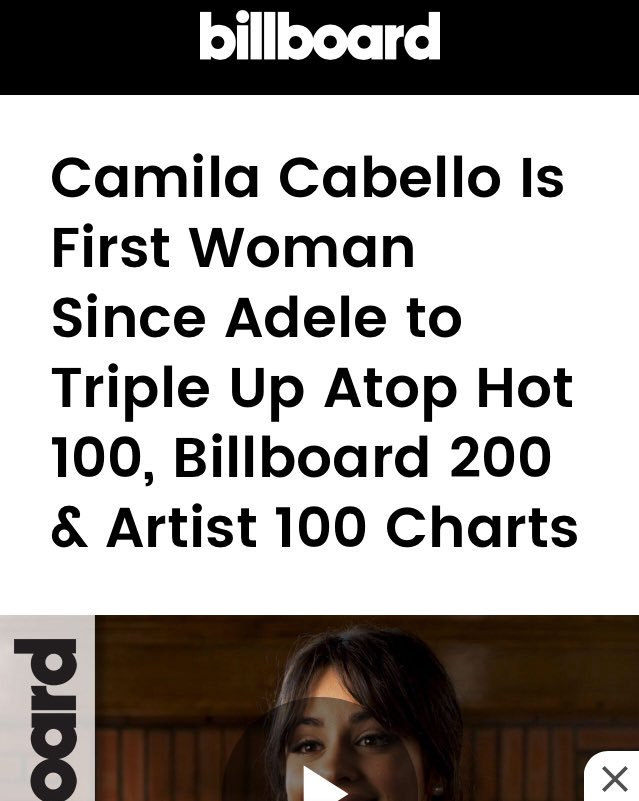 14. Camila becomes the FIRST female artist to triple up atop the Artist 100, Billboard Hot 100 singles and Billboard 200 albums chart simultaneously since Adele just over two years ago. She's the first artist overall to earn the honor since Kendrick Lamar in May 2017.  (10/...) <br>http://pic.twitter.com/SpT7Wxegci