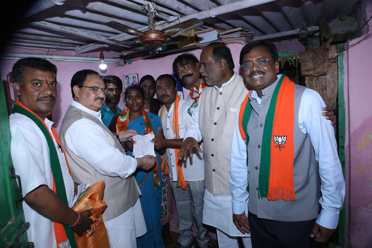 BJP National Working President Shri @JPNadda participates in #BJPMembership drive at a polling station in EWS colony, Telangana.