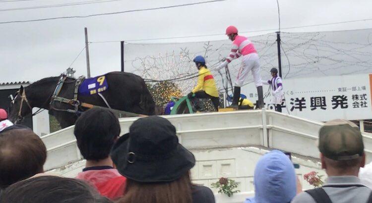 第2障害を超えるコパ勝負服の藤田菜七子騎手