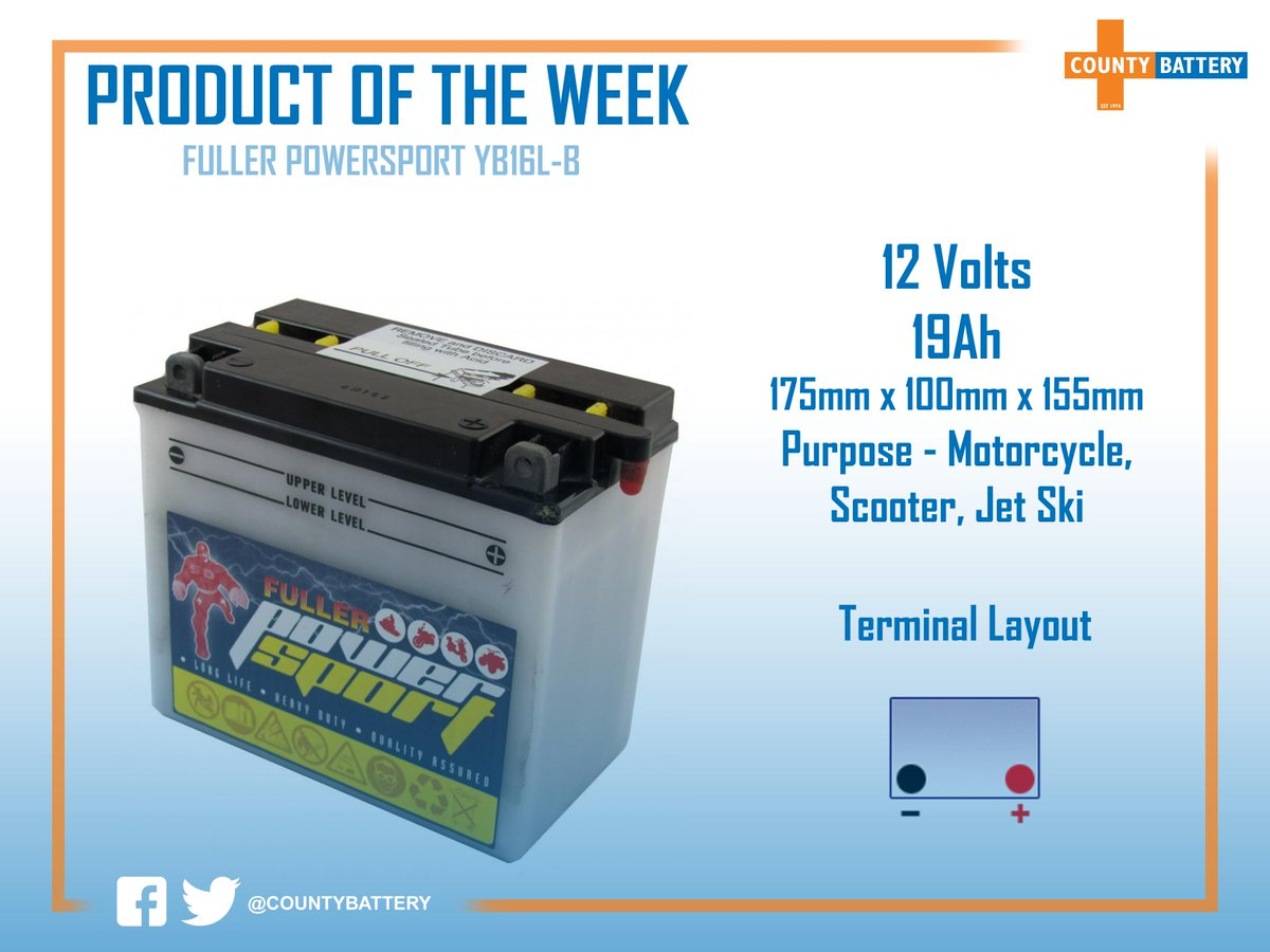 The Fuller Powersport YB16L-B is this weeks Product of the Week. This battery is suitable for use on things such as motorbikes, scooters, jet skis, mopeds and many more! 🏍🛵 For more information, click the link below! 👇 countybattery.co.uk/motorcycle/12-…