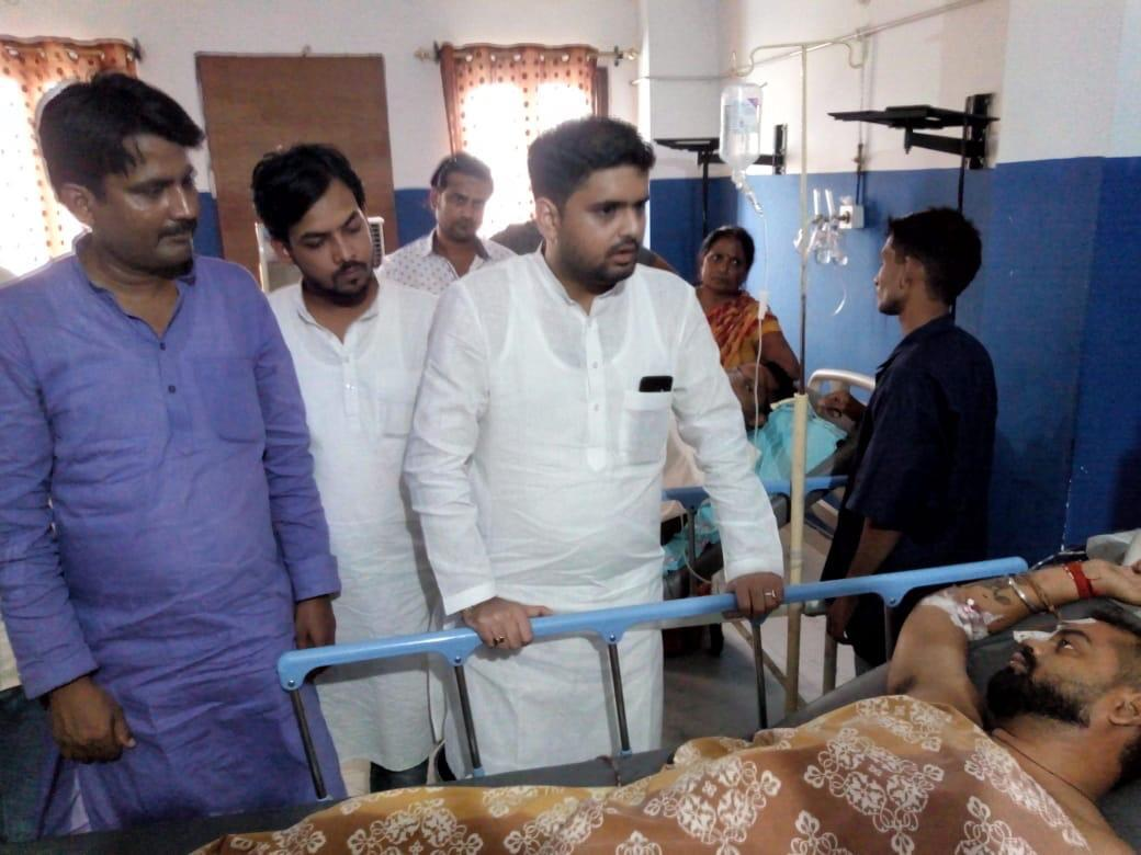NSUI National President @Neerajkundan visited Bihar to meet Ara district NSUI president in hospital. Our district president Manish Kumar and another person were shot at yesterday by criminals who run their unbridled empire under the @NitishKumar Government #JusticeForManishKumar<br>http://pic.twitter.com/BhEPqponiA