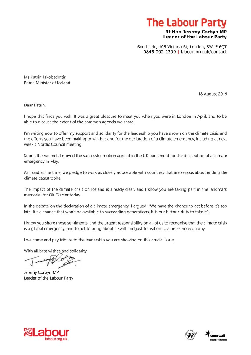 Ive written to the Icelandic PM Katrín Jakobsdóttir to offer my support for her efforts to win backing for a declaration of a climate emergency, including at next weeks Nordic Council meeting. We have the chance to act before it's too late. Its our historic duty to take it.