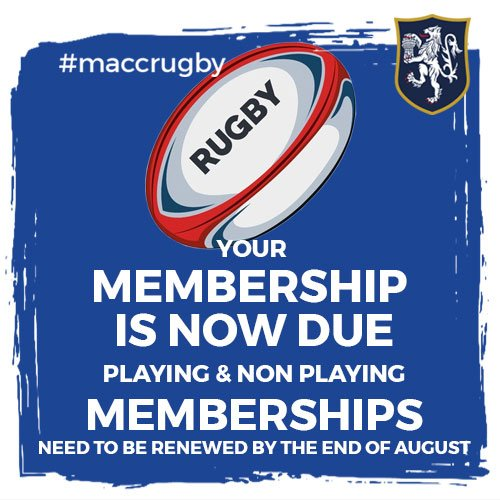 test Twitter Media - It's time to renew your memberships! With the 2019/20 membership ending on Saturday 31st August, now is the time to renew yours in time for 2019/20! https://t.co/SSL0Iagy59 #MaccRugby 🏉 https://t.co/PL03YWSKoa
