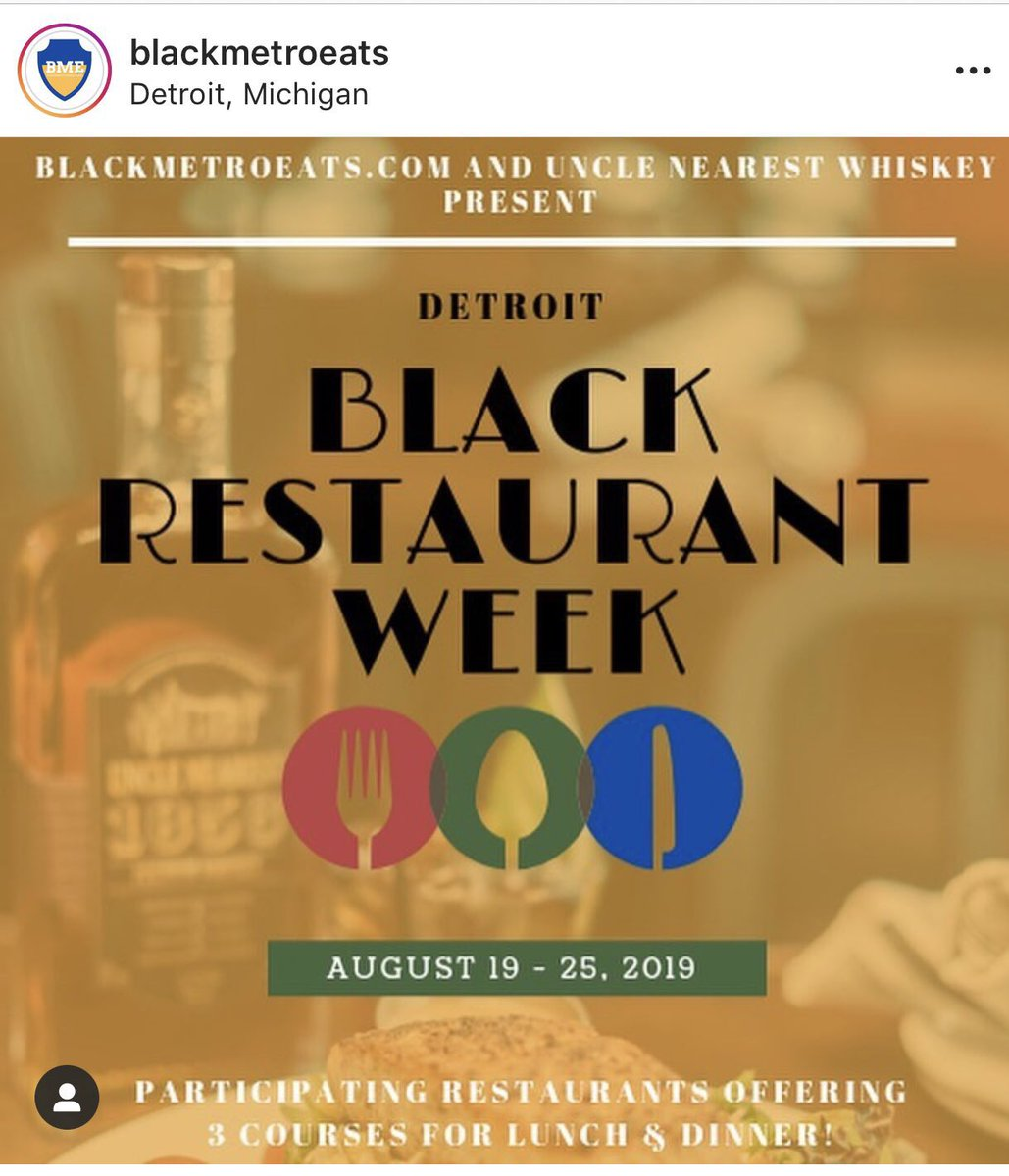 """Did you know this week is Detroit's Third Annual """"Black Restaurant Week""""? 😋🍽 Check it out! #SupportBlackBusiness blackmetroeats.com"""