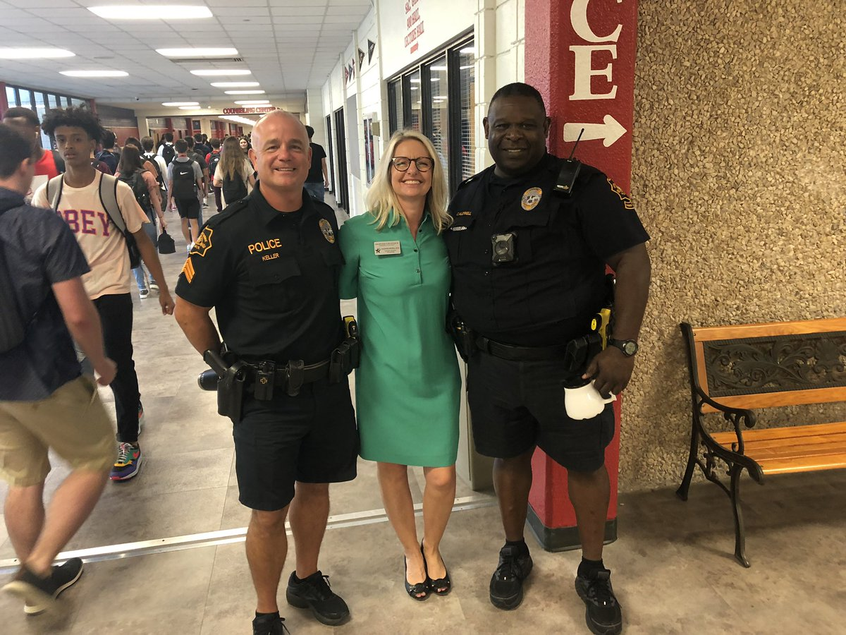 Feeling very safe this morning on the @Grapevine_HS first day of classes! #WeAreGCISD <br>http://pic.twitter.com/cfAHJGDtox