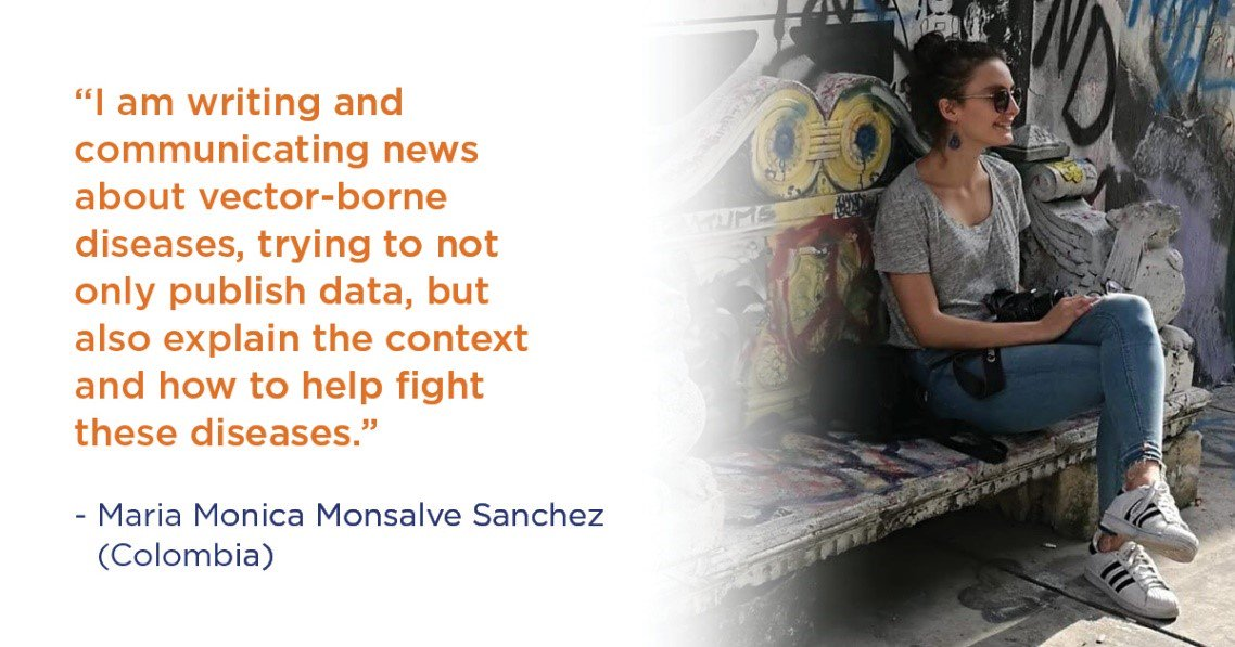 Maria Monica, from Colombia, uses journalism to help her community reduce mosquito-borne disease. Learn more about her work to spread information that fights the spread of disease: ow.ly/6K0750vq2DY #MissionMosquito #WorldMosquitoDay #Zika