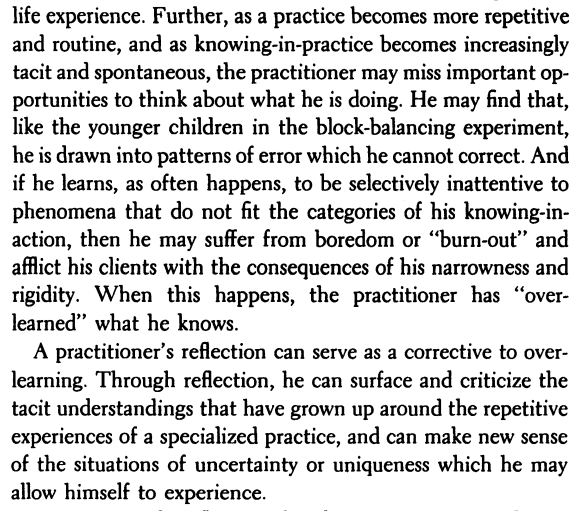Why reflect? I often think about this question. Pupils, students and adult learners have one thing in common; many of them dont see the value of written reflection upon their doings. I hear this complaint all the time. But Schön (1983) outlines compelling reasons to reflect: