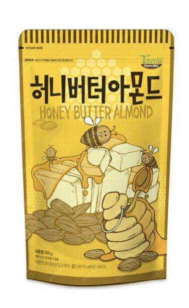 韓国で食べてから激ハマりしたハニーバターアーモンドまじ悪魔的に美味しいし中毒性やばい、普通にドンキとかで売ってるから全力でおすすめしたい早く食べ過ぎて全員顎痛めて欲しい