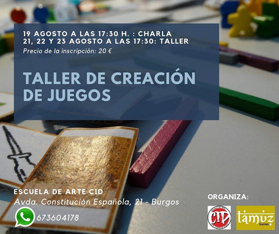 Hoy CHARLA sobre creación de #juegosdemesa, iniciacion.@escuelacid con @TamuzGamesLunes 19, a las 5:30h.#Tallerdecreacion #Creaciondejuegosdemesa21, 22, 23 de #Agosto 5:30h