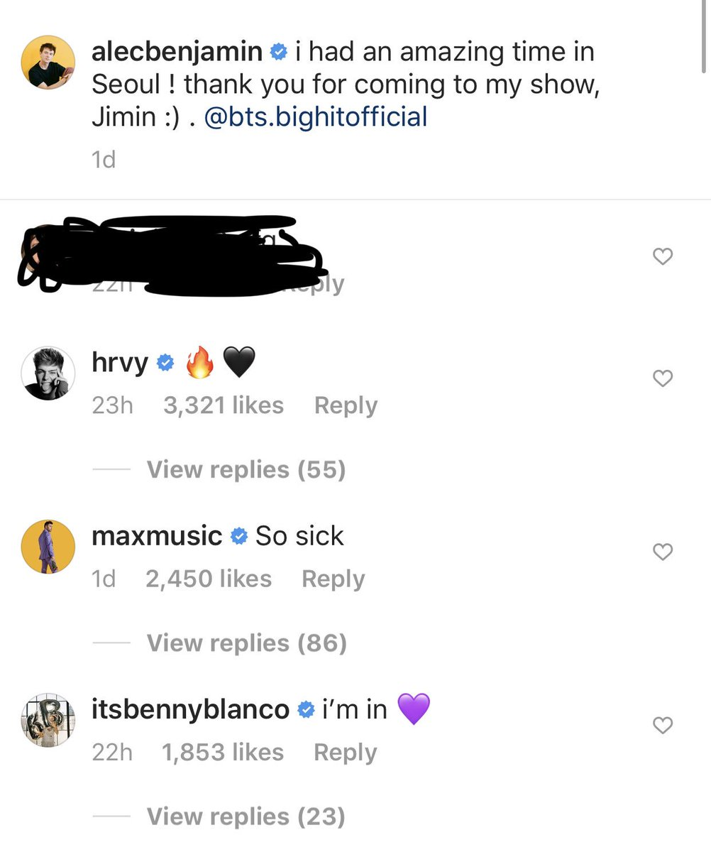 Wow. Look who commented on the Alec Benjamin post with Jimin: - hrvy: tweeted in the past - maxmusic: Jungkook played his music on a VLive  - BENNY BLANCO: Grammy nominated songwriter for Maroon5, Katy Perry, Wiz Khalifa, Justin Bieber etc. <br>http://pic.twitter.com/i7ZauhUlwH