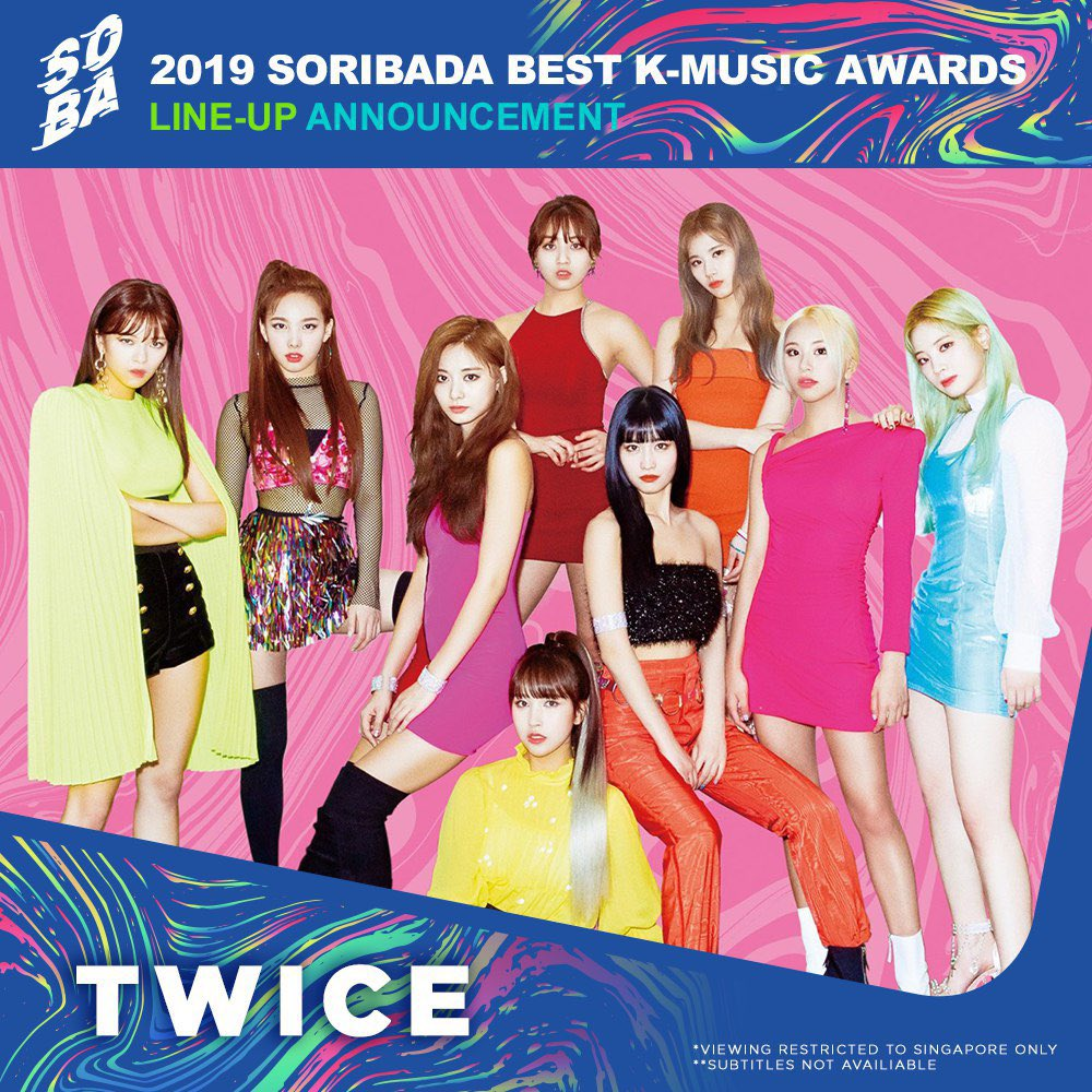 Here are some of the top acts that will be heading to the #Soribada awards later this week! Are you guys excited? 🤩 LIVE on @ToggleSG | 22 & 23 Aug, 530PM - 830PM | bit.ly/Soribada2019To… @JYPETWICE @NCTsmtown_127 @RVsmtown @Stray_Kids #TWICE #NCT127 #RedVelvet #StrayKids