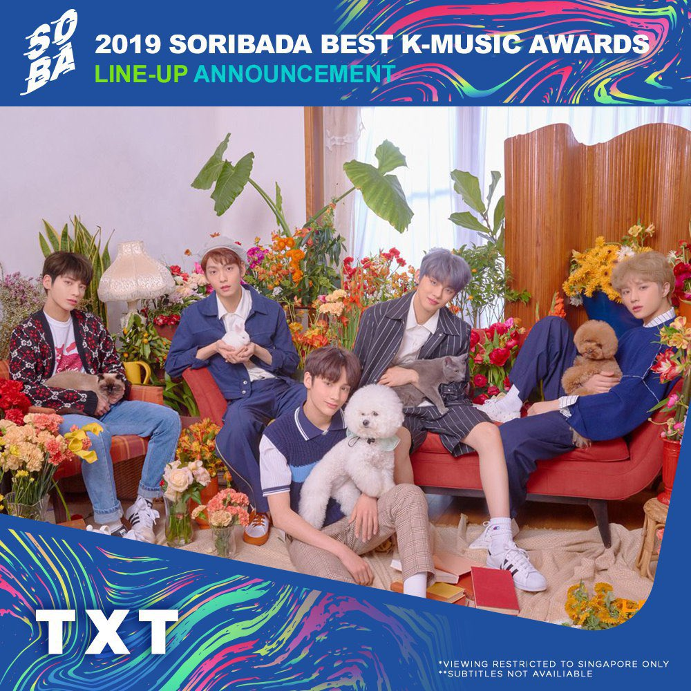 Don't miss the #SORIBADA Awards 2019 🤩✨ LIVE on @ToggleSG | 22 & 23 Aug, 530PM - 830PM | bit.ly/Soribada2019To… @TXT_bighit @CHUNGHA_MNHent @RBW_MAMAMOO @AB6IX #TXT #Chungha #MAMAMOO #AB6IX