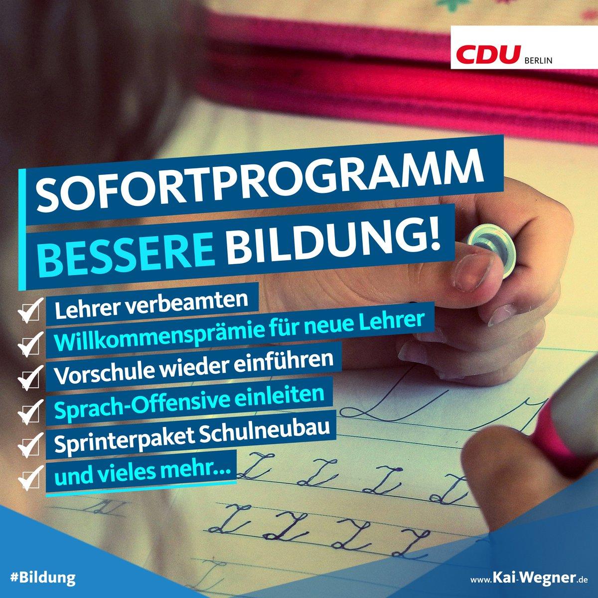 Senatorin #Scheeres hat die #Bildung vor die Wand gefahren. #Berlin ist das Schlusslicht in ganz Deutschland. Die @cduberlin will nicht länger zusehen, wie unsere Kinder um ihre #Zukunft betrogen werden. Wir brauchen einen echten Neustart in Berlin. kai-wegner.de/?attachment_id…