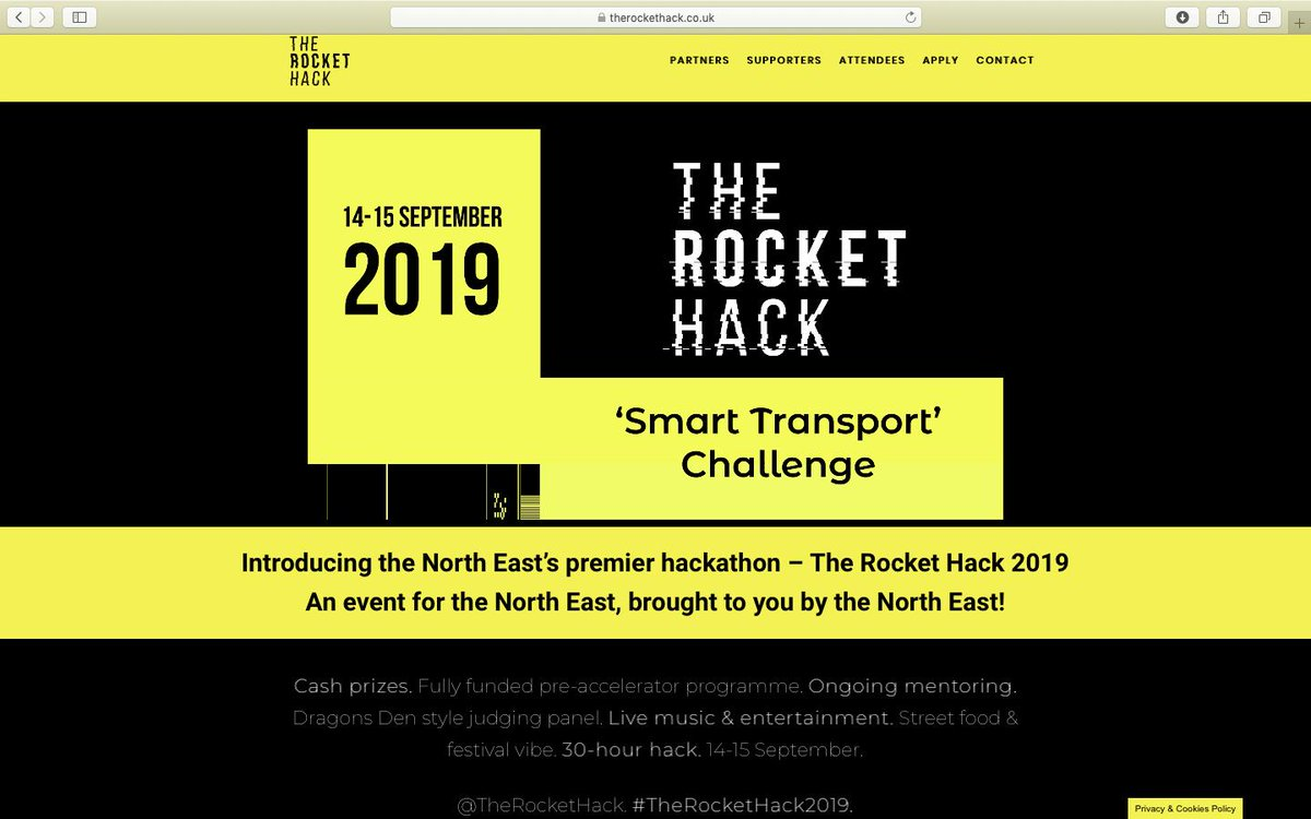 #TheRocketHack2019, 2-day hackathon focused on #SmartTransport taking place in Newcastle on 14-15 September sounds amazing! Were excited to be lending our support as mentors & judges & encourage you to take part too at therockethack.co.uk #ThisIsMINE (Made In North East)