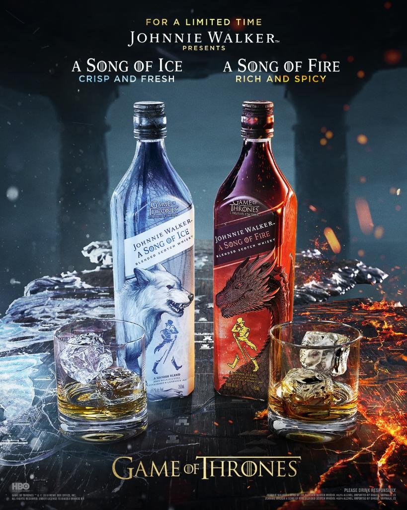 Introducing two new limited edition blends honoring the legacy of @GameOfThrones. #JWSongofIce exudes a crisp taste while #JWSongofFire boasts subtle smoke flavors.  Available nationwide now. Start your collection today.  https://www. reservebar.com/collections/ic eandfire  … <br>http://pic.twitter.com/GJMhsxLaKg