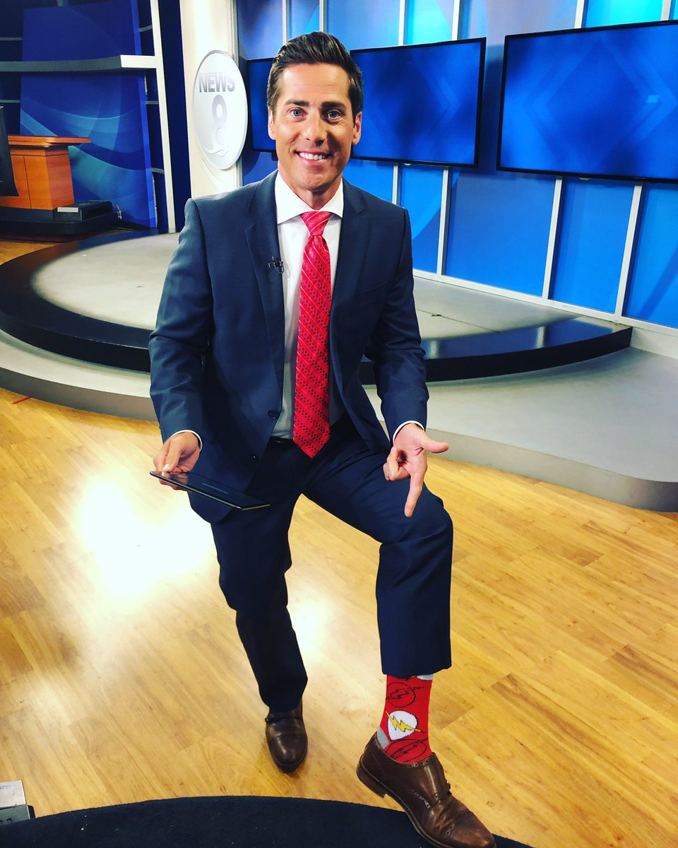 I'm back to work .. off and running with my FLASH  socks! #ownyourmonday #upwith8 @CBS8 #sockgame <br>http://pic.twitter.com/4L9QuVBZAO