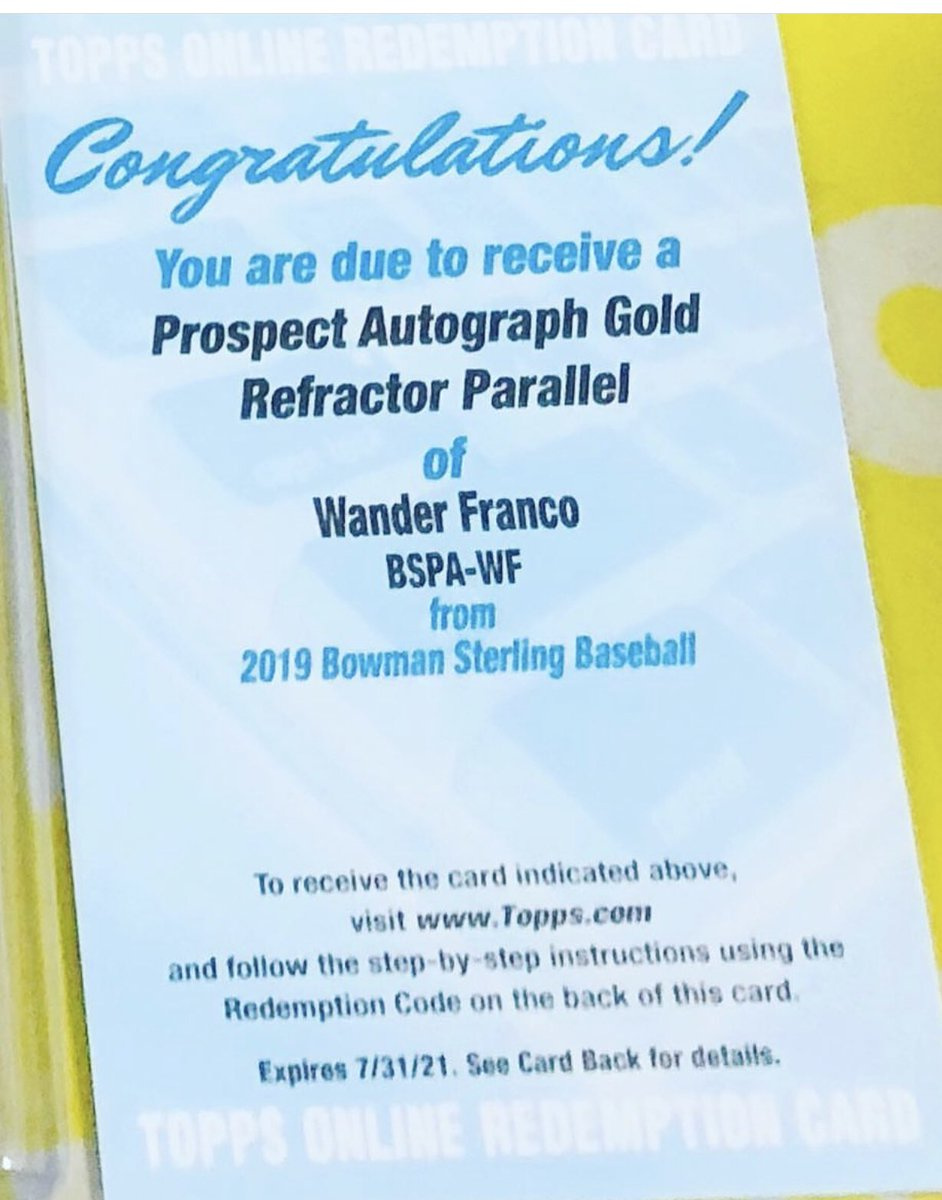 2019 BOWMAN STERLING WANDER FRANCO GOLD REFRACTOR /50 AUTO #wanderfranco #rays #bowmansterling #bowman2019 #goldrefractor #autograph #bargainboxbreaks #sportscards #baseballbreaks pic.twitter.com/3tqFWs5EXV