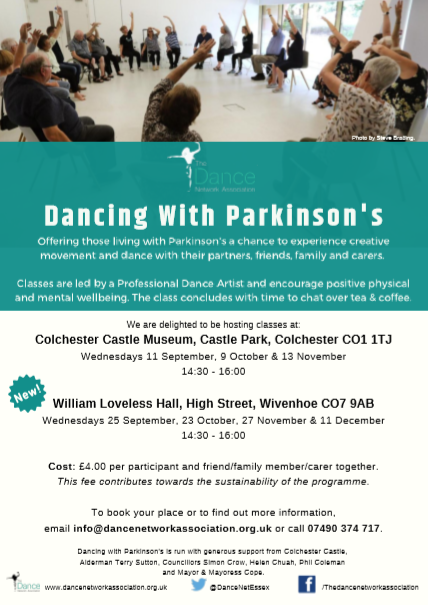 Excellent news! @DanceNetEssex has announced additional dates and an additional venue for its Dancing With Parkinsons class.   Classes take place at Colchester Castle and William Loveless Hall in Wivenhoe.   See image for details.  #Parkinsons<br>http://pic.twitter.com/SYC5DZbIXR