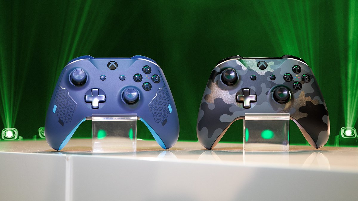 New controller alert  RT for a chance to win both all-new drops – the Sport Blue Special Edition AND Night Ops Camo Special Edition.  NoPurchNec. Offer ends August 26. Rules:  https:// xbx.lv/33IGhuT     <br>http://pic.twitter.com/xj6oUBm803