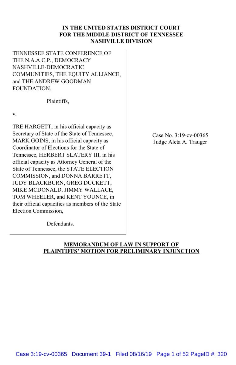 ALERT: We are suing Tennessee to block implementation of an ugly #votersuppression bill that seeks to impose criminal penalties and fines on groups that register people to vote.  Today, we are seeking emergency relief to BLOCK implementation of that bill until trial. @LawyersComm https://t.co/z1NxgdtkNv