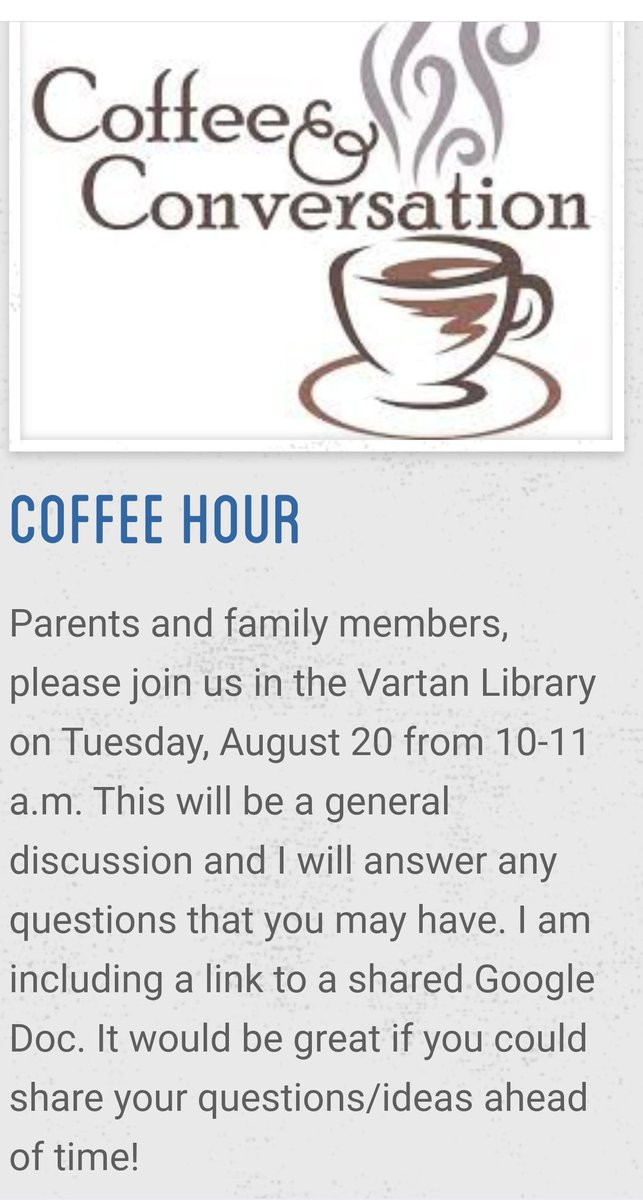 Please join us tomorrow for Principal Russos coffee hour!