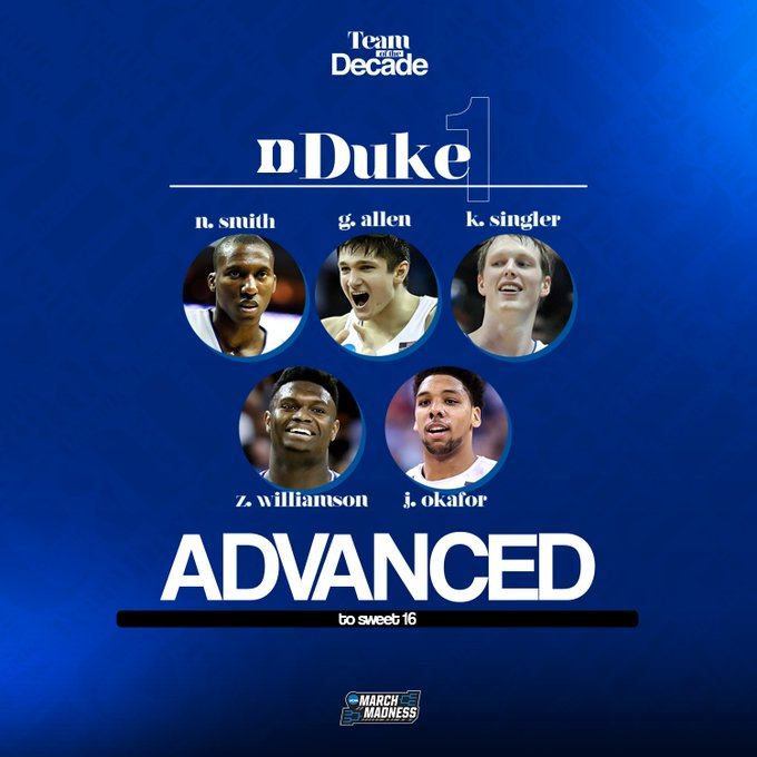 You can find these teams in the #MMToD Sweet 16...  @DukeMBB over Xavier @MarquetteMBB over West Virginia @ButlerMBB over Iowa State @BoilerBall over Louisville