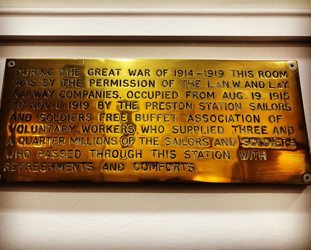 I always try to visit this plaque when I pass through Preston station. From today in 1915 the women of Preston fed and comforted the first of millions of servicemen who were passing through the station on their way to the front.