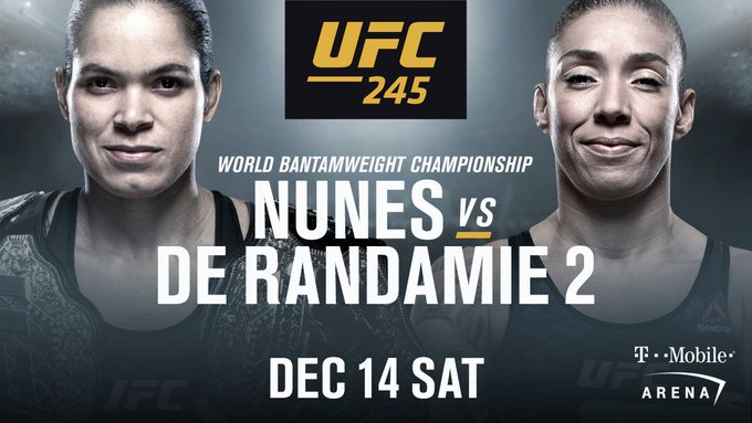 The rematch is booked!  @Amanda_Leoa meets @IronLadyMMA for the bantamweight strap in Vegas! #UFC245