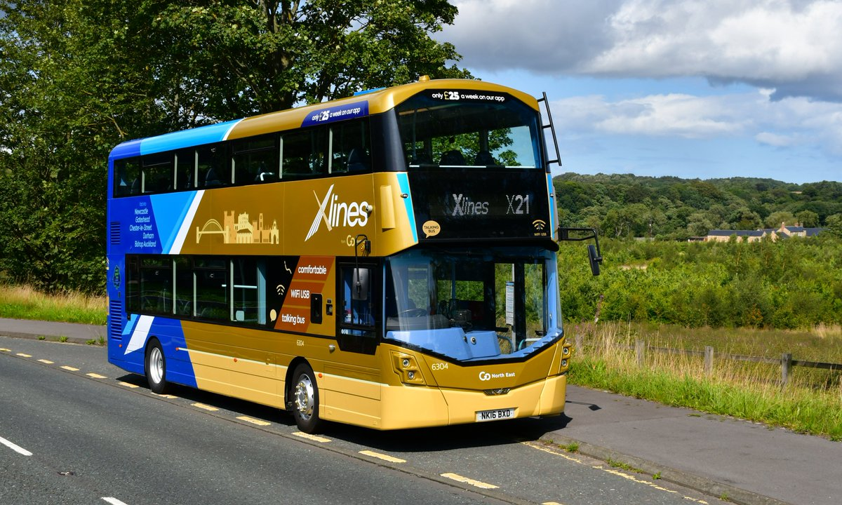 The award for the most photographed bus in the region today goes to 6304 - @gonortheast's newly painted and branded #xlines Wright StreetDeck, for service X21. The iconic castles from the previous branding remain in the skyline, and on the next stop announcement commentary too! <br>http://pic.twitter.com/9tsKfFBRp7