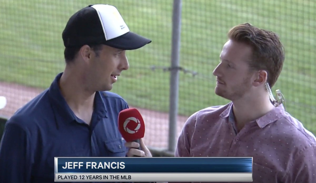It was a pleasure hosting the @18uNats this past weekend with @RtvLondon! The two-hour rain delay yesterday was made a whole lot better with the opportunity to interview former Canadian MLB pitcher, @jeffwfrancis.   I'm 6'3. He's actually that tall.<br>http://pic.twitter.com/DbQ16naFbJ