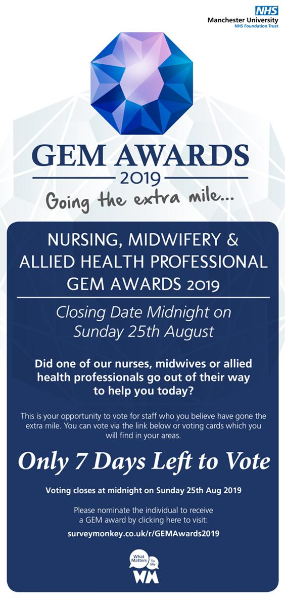 Dont forget this week is your last week to nominate all of the GEMS (Going the Extra Mile) that you work alongside or have received care from. Give someone the recognition they deserve. 👏💜Details of how to submit your entry are on the details attached. #WMTM