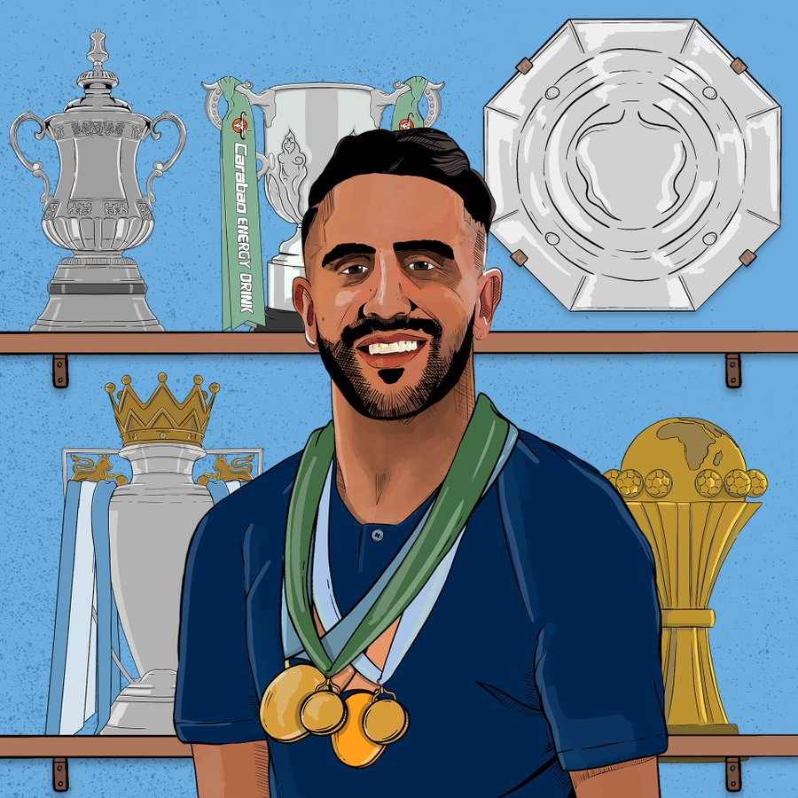 Riyad Mahrez's trophy cabinet (via @ManCityFra):   Premier League  Community Shield  FA Cup  League Cup  Football League Championship   Africa Cup of Nations #AFCON2019  <br>http://pic.twitter.com/EnLJjsUhKv