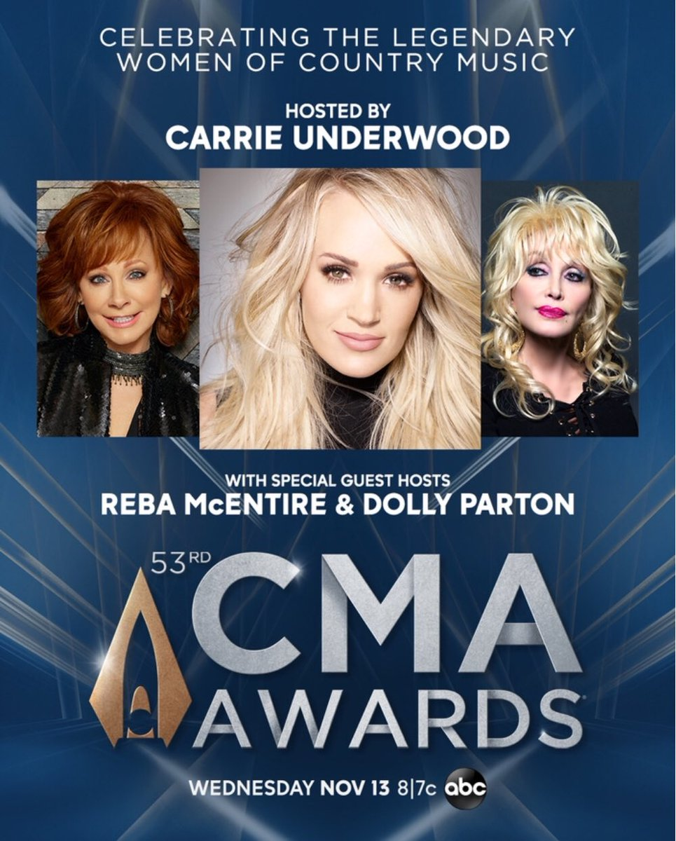 CHANGING OF THE GUARD @carrieunderwood has two new co-hosts for this year's #CMA Awards:  @reba & @DollyParton. Carrie hosted with @BradPaisley the last 11 years. This female power year with these three powerhouses airs on @ABCNetwork November 13th (Photo courtesy CMA).<br>http://pic.twitter.com/HdCmUDQV3W