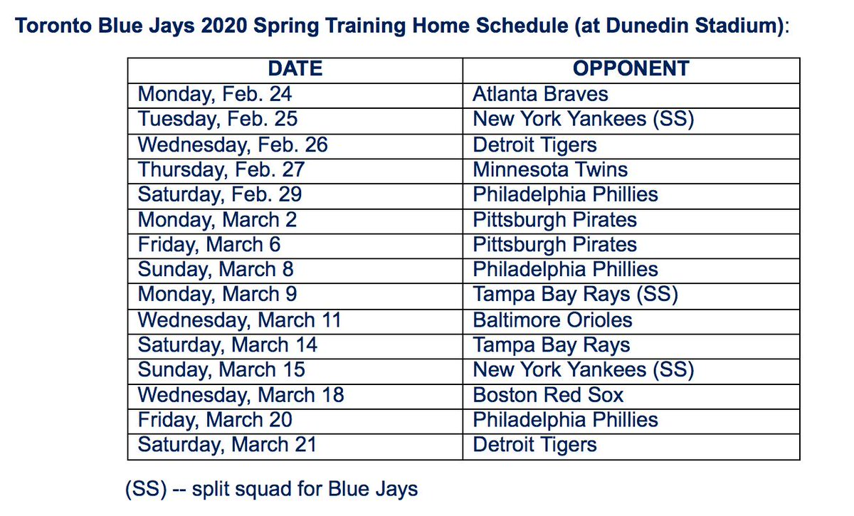 Phillies 2020 Spring Training Schedule.Keegan Matheson On Twitter Bluejays Announce Their 2020