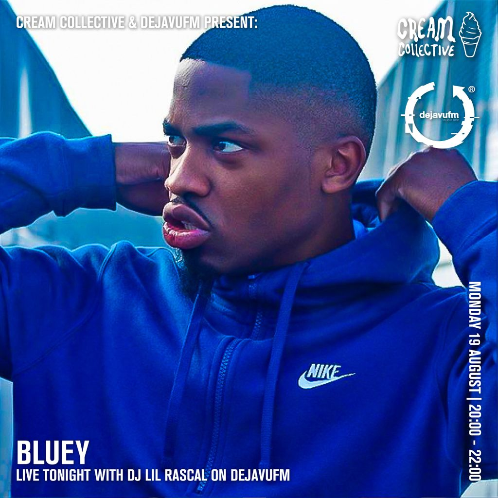 You don't want to miss @blueybluetooth tonight on @dejavufm live with @DJLilRascal91 !!  Tune in between 20:00 and 22:00 here : https://dejavufm.com/watch/   #DejaVuFM #DJLilRascal #Bluey #CreamCollective #Electro #Edm #DanceMusic #RadioShow #LiveShow