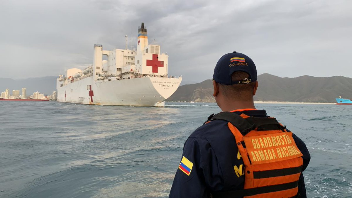 Proud that the #USNSComfort has arrived in #Colombia, providing medical care and support to our partners in the region. We stand with Colombia in providing humanitarian aid to more than a million Venezuelans displaced by the Maduro regime. #WorldHumanitarianDay #EstamosUnidosVE<br>http://pic.twitter.com/Hp8UxrSJL7