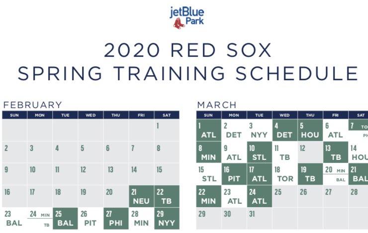 Red Sox Spring Training 2020.Red Sox Spring Training Schedule 2020 Schedule 2020