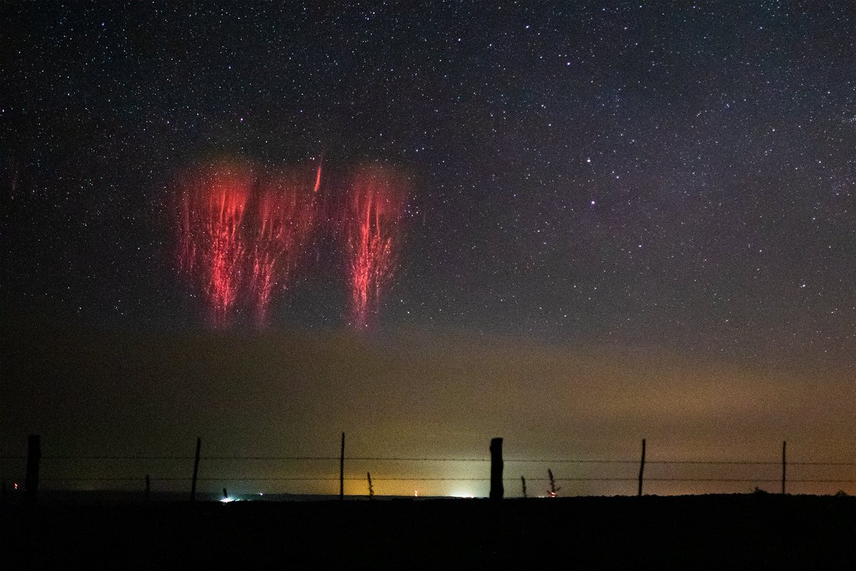 A massive cluster of sprites illuminates the night sky above a line of severe thunderstorms in the Texas panhandle on May 7th. #txwx #stormhour