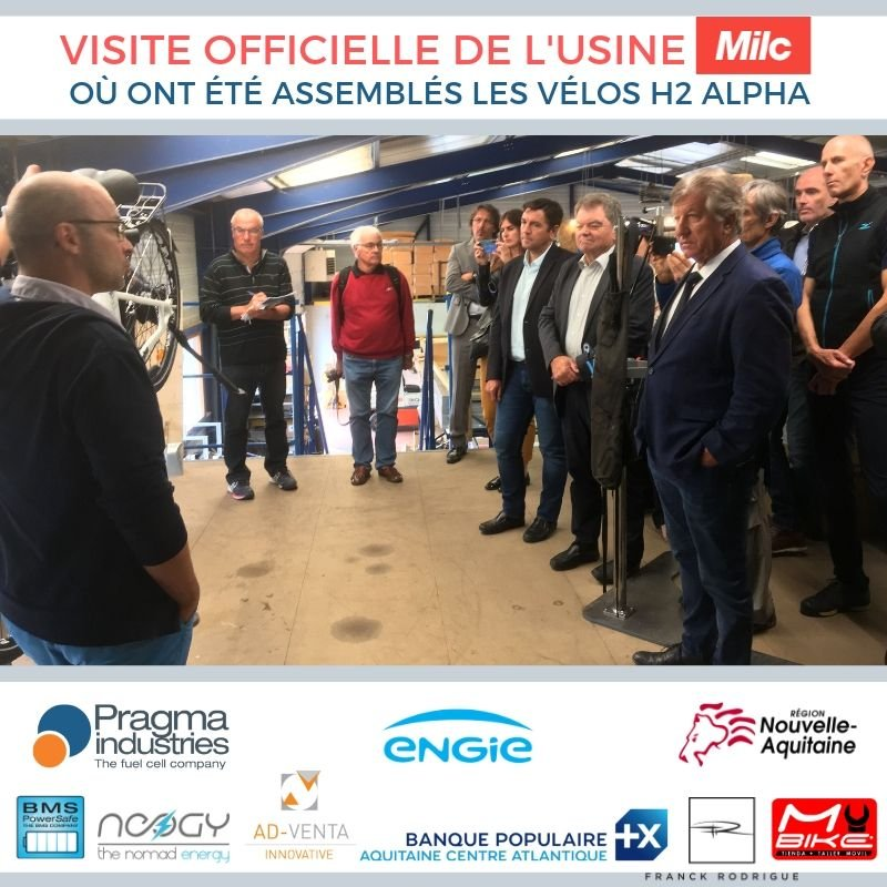 Visite  de l'entreprise MILC qui a assemblé les 200 vélos en moins de 20 jours 🛠🚴♂️🙏Bravo! Présents @julienchauvet80  @engie , P.Forté PDG de @PragmaFuelCells , B. Plano maire de Lannemezan pour la région @Occitanie @NeogyNomade @BMSPowerSafe @Ad_Venta @NvelleAquitaine #H2bike