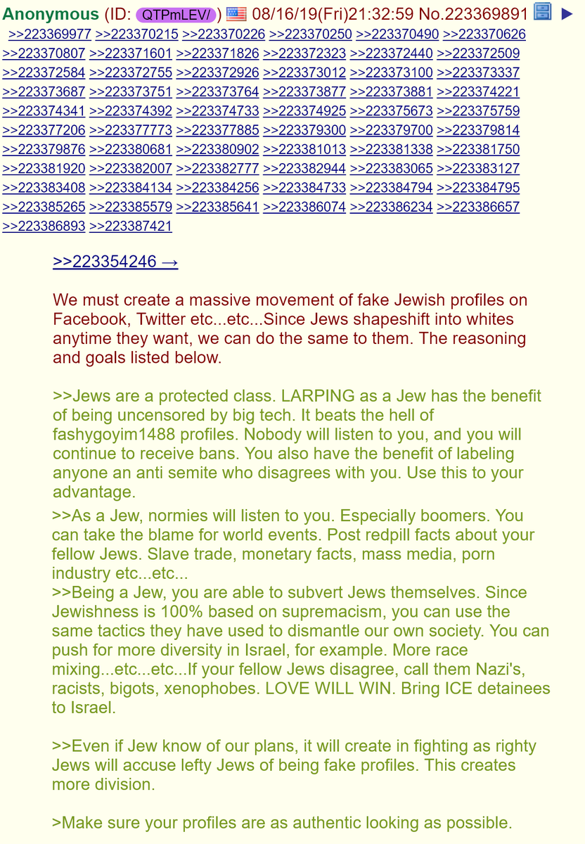 1. Three days ago on 4chan, a popular post called for a massive movement of fake Jewish profiles on Facebook, Twitter etc: