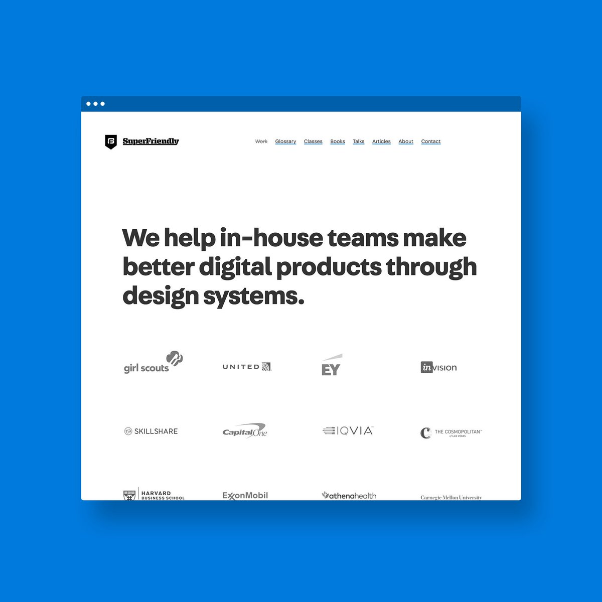 Just in time for @clarity_conf, heres our new site, announcing to the world something weve been doing silently for the last few years: a primary focus on #designsystems! Check out the new site: superfriendlydesign.systems