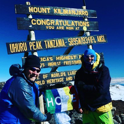 Every year I lead a group up #Kilimanjaro with names on a HOPE flag. Such an honor sharing emotional moments & incredible reminder to give back. Having a deeper purpose, you become 100x stronger than you ever imagined. Everyone touched by #cancer thank you for giving me strength<br>http://pic.twitter.com/mvNquMuut0