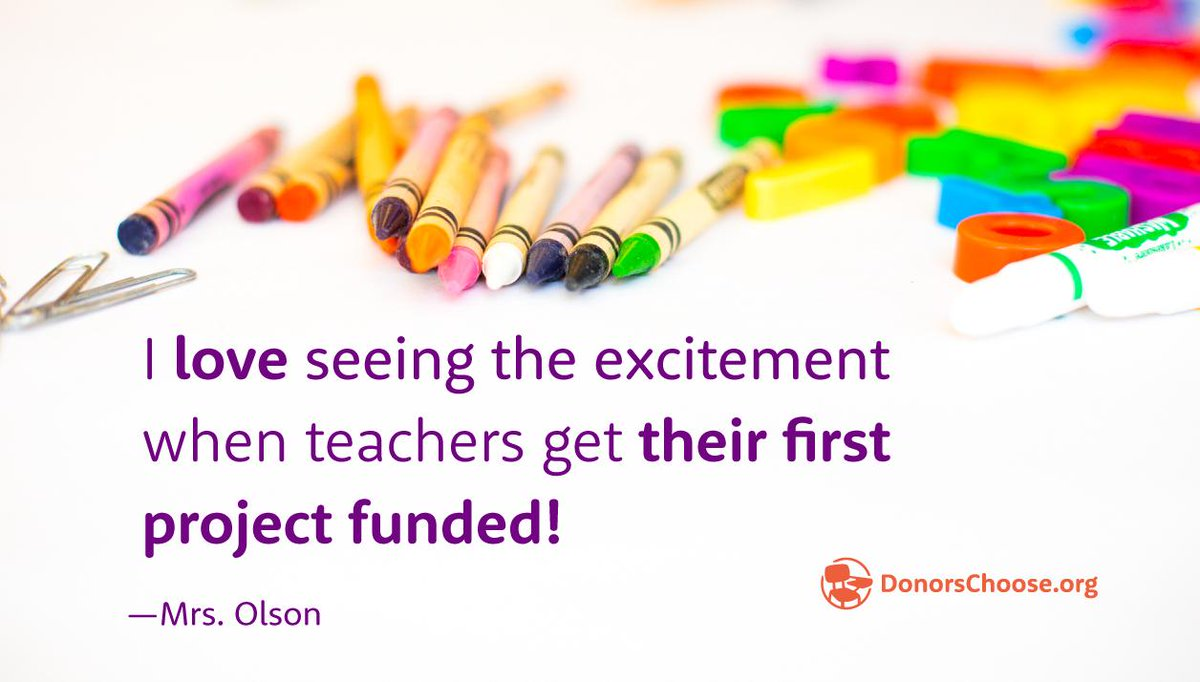 Like many of our  http://DonorsChoose.org   teachers, Mrs. Olson gives her $25 referral credit back to a new teacher's project!  #WelcomeWeek