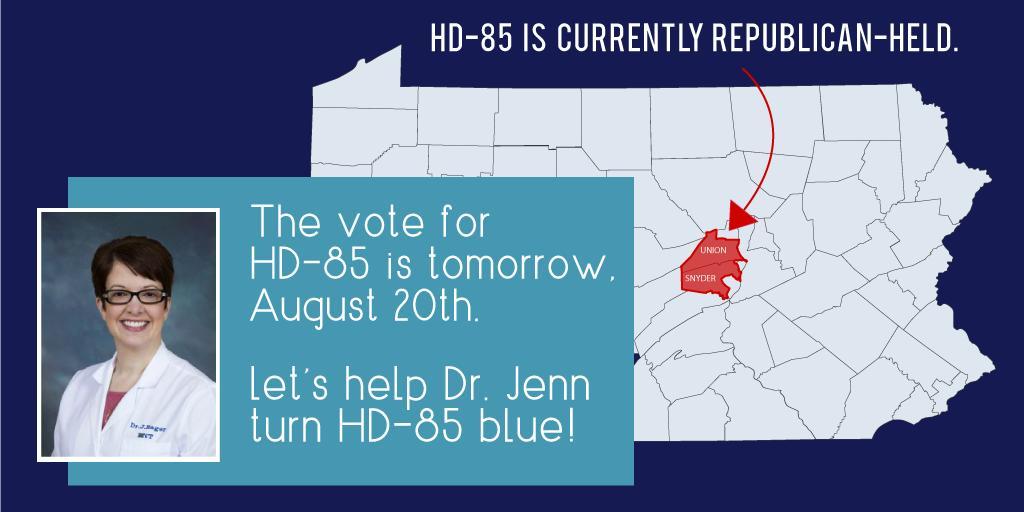 Help Dr. Jenn turn HD-85 blue! @PADems #letsturnPAblue padems.com/phone-banks/?f…