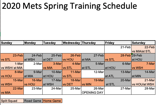 Mets Spring Training 2020.Michael Baron على تويتر Here Is The Mets 2020 Spring